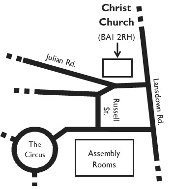 Map showing location of Christ Church